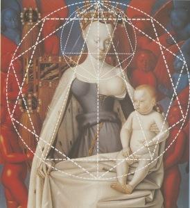 Jean_Fouquet - Díptico de Melun_02 (Madonna)_Composition