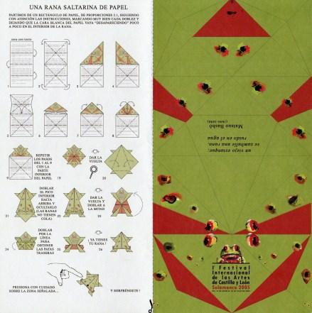 Instrucciones para realizar la rana de la Universidad de Salamanca en papel. símbolo de la primera edición del Festival de las Artes Escénicas de Castilla y León que se celebra en Salamanca desde 2005.