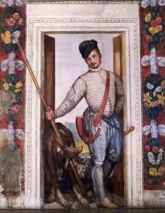 Veronese se retrató en como un noble vestido de cazador en los los frescos que realizó en 1560 en Villa Barbaro.
