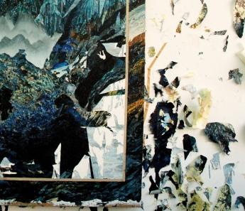 """Detalle de """"Niebla"""" y los elementos que Giralda reutiliza en sus collages."""